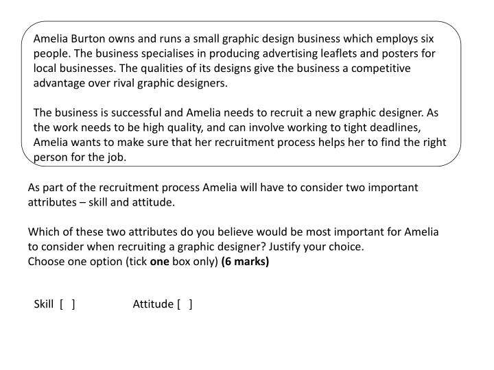 Amelia Burton owns and runs a small graphic design business which employs six people. The business s...
