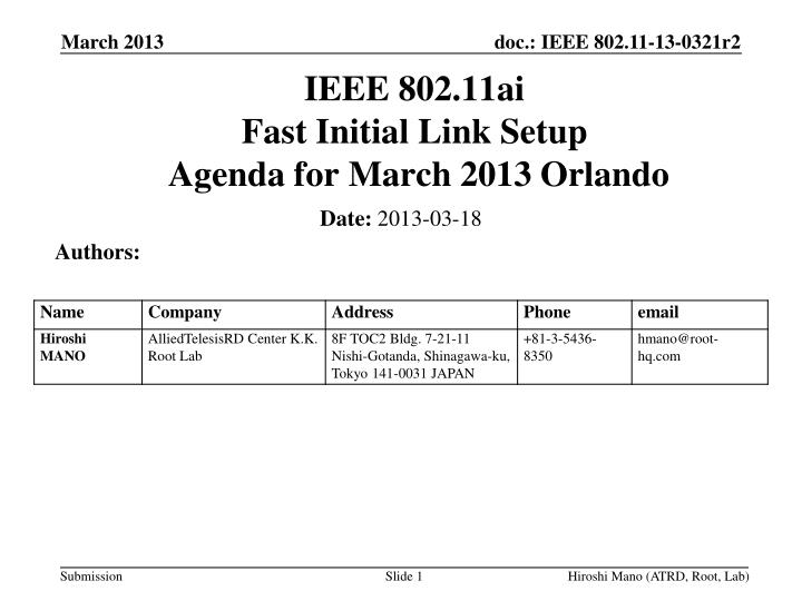 ieee 802 11ai fast initial link setup agenda for march 2013 orlando n.