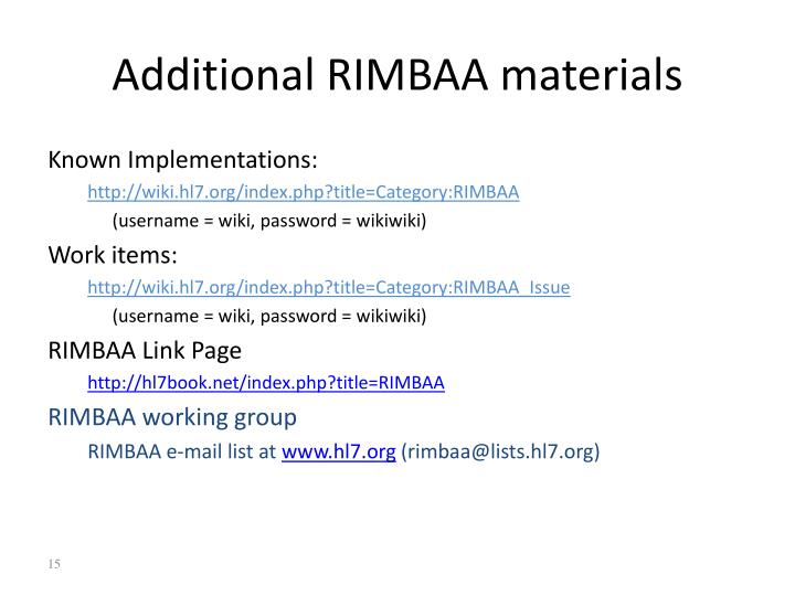 Additional RIMBAA materials
