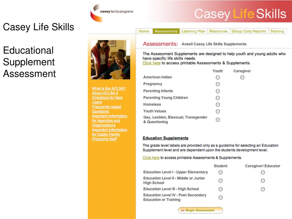 image relating to Ansell Casey Life Skills Assessment Printable named PPT - Utilizing Changeover Evaluation toward Build Postschool and