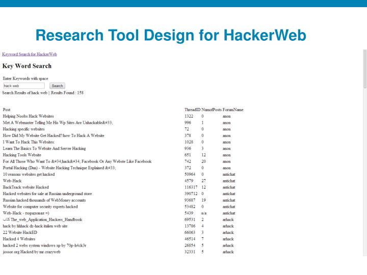 Research Tool Design for HackerWeb