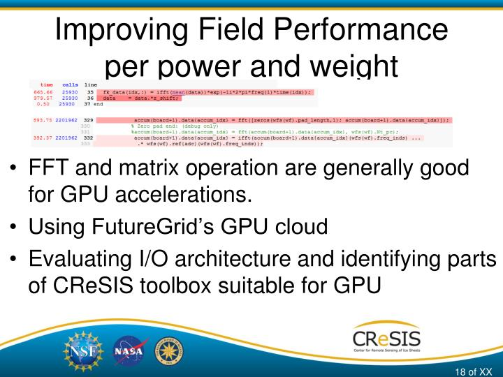 Improving Field Performance per power and weight