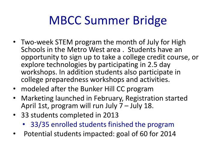 MBCC Summer Bridge