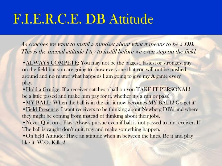 F.I.E.R.C.E. DB Attitude