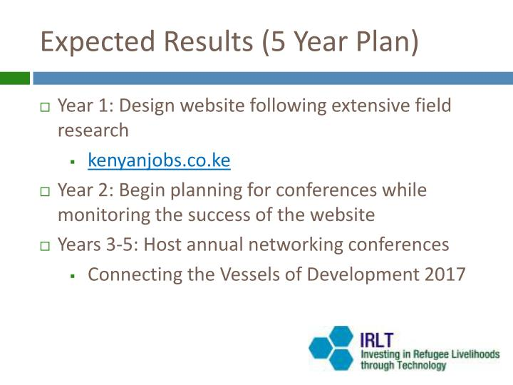 Expected results 5 year plan