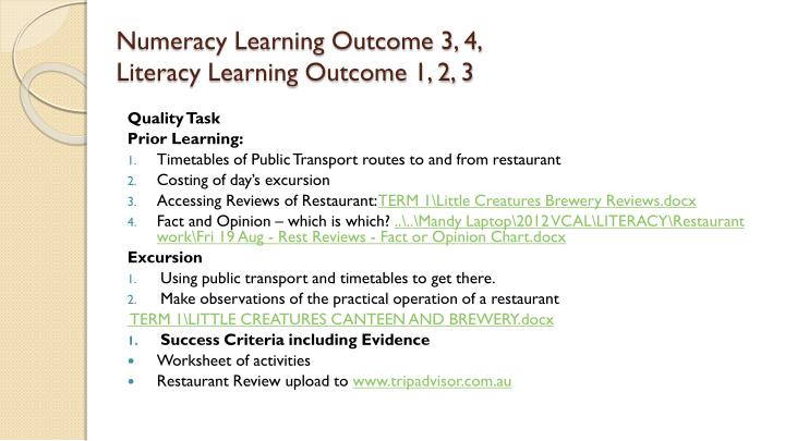 Numeracy Learning Outcome 3, 4,