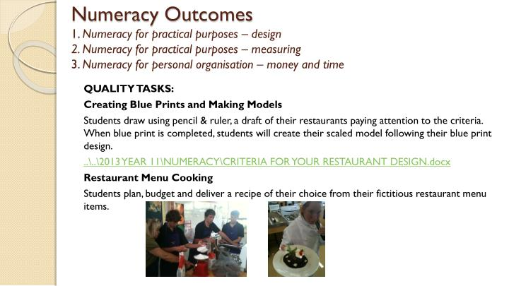 Numeracy Outcomes