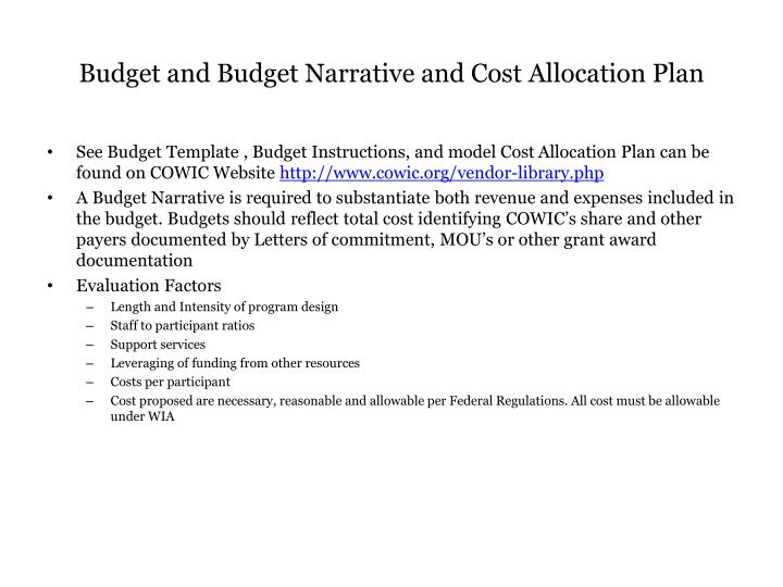 Budget and Budget Narrative and