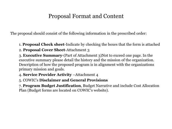 Proposal Format and Content