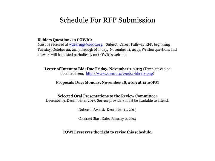 Schedule for rfp submission