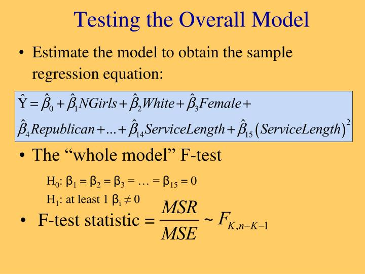 Testing the overall model