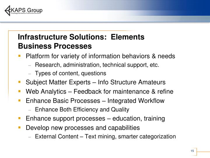 Infrastructure Solutions:  Elements