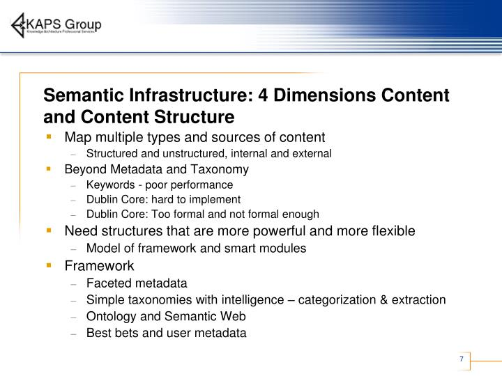 Semantic Infrastructure: 4 Dimensions Content and Content Structure