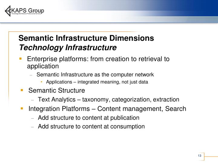Semantic Infrastructure Dimensions