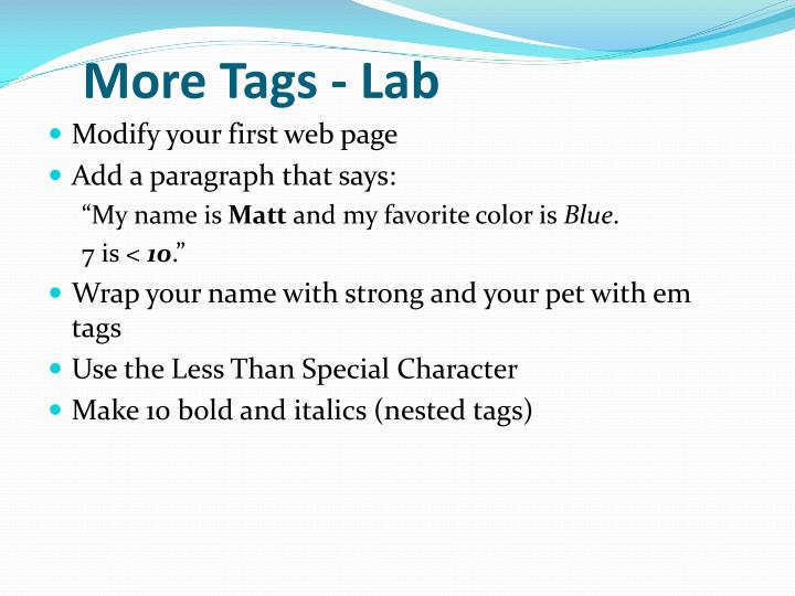 More Tags - Lab
