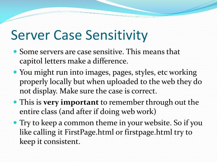 Server Case Sensitivity