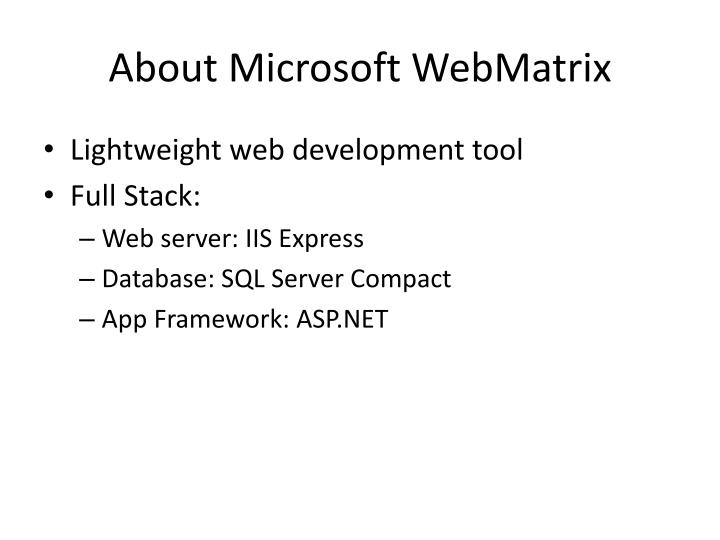 About microsoft webmatrix