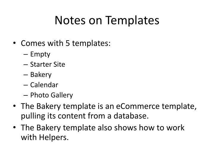 Notes on Templates