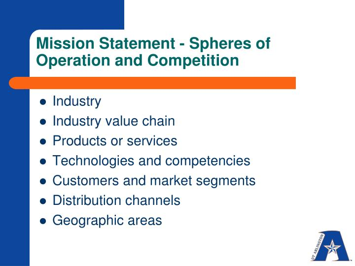 Mission Statement - Spheres of Operation and Competition