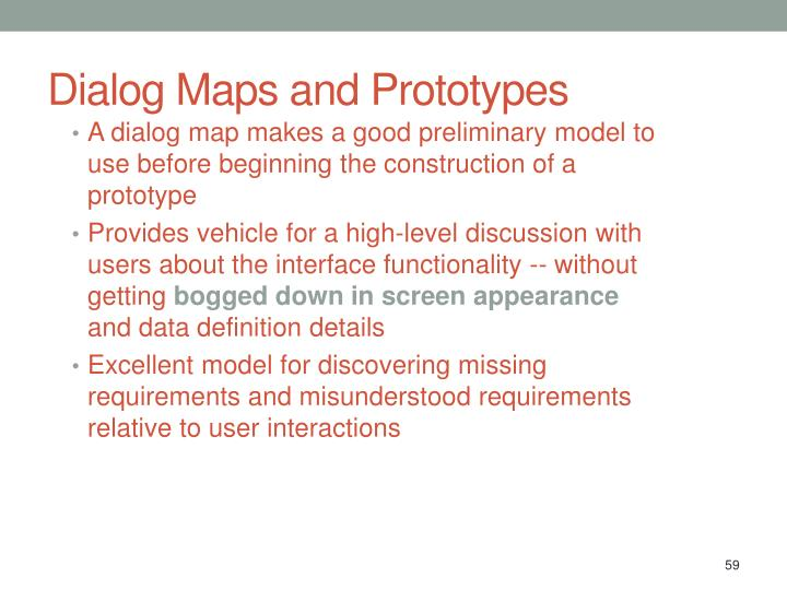 Dialog Maps and Prototypes