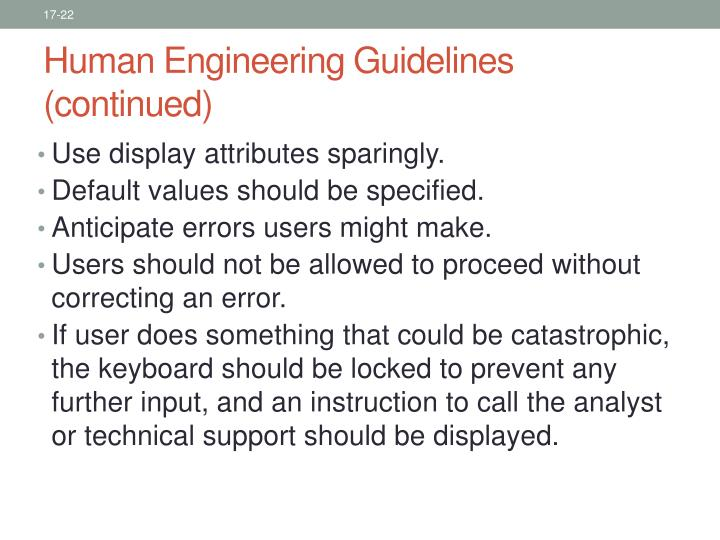 Human Engineering Guidelines (continued)