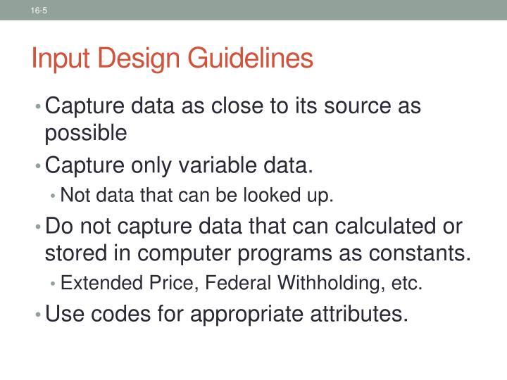 Input Design Guidelines