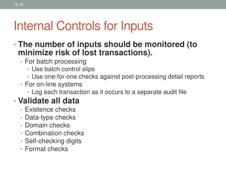 Internal Controls for Inputs
