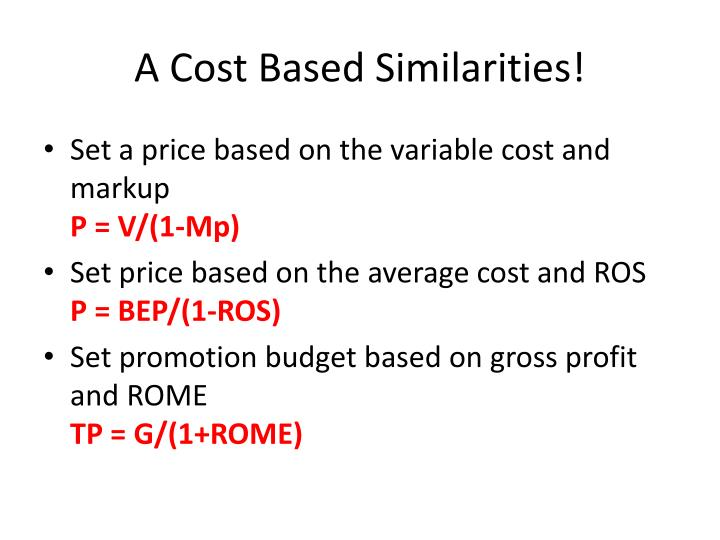A Cost Based Similarities!