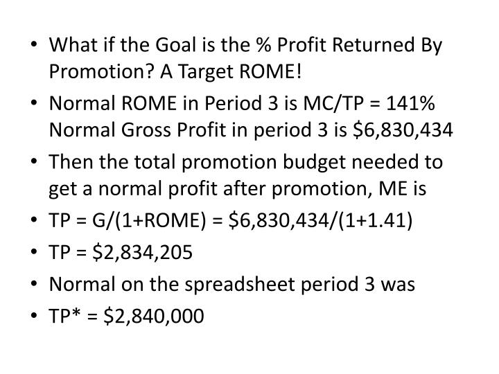 What if the Goal is the % Profit Returned By Promotion? A Target ROME!