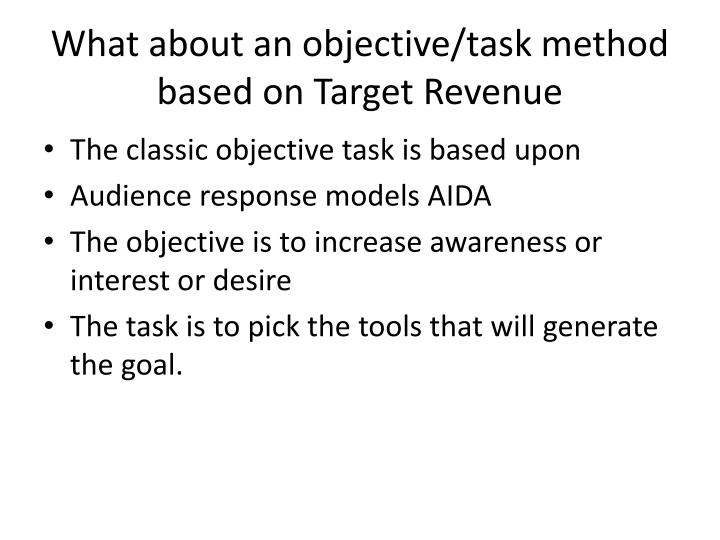 What about an objective/task method based on Target Revenue