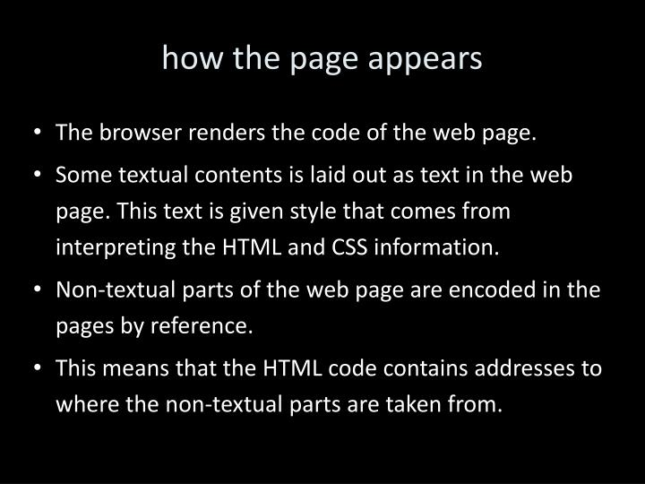how the page appears