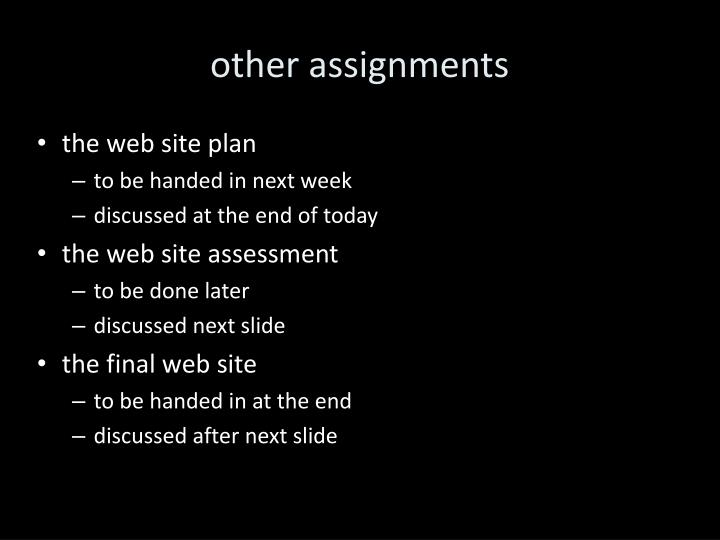 other assignments