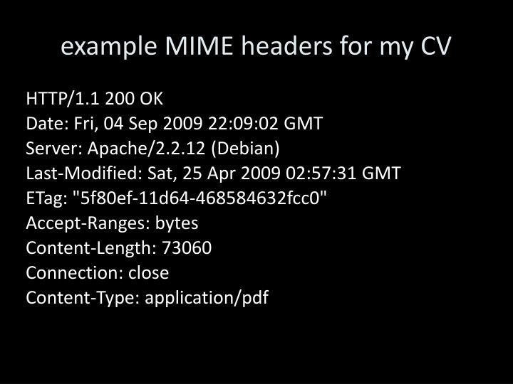 example MIME headers for my CV