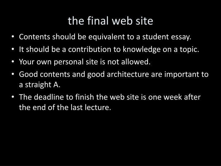 the final web site