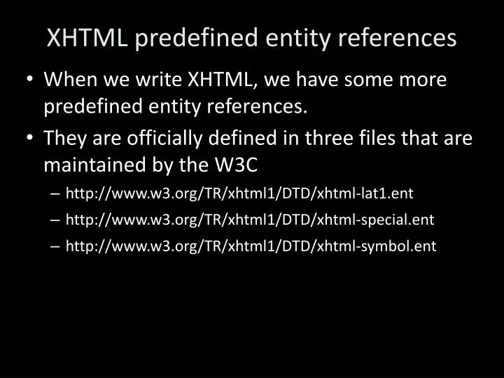 XHTML predefined entity references