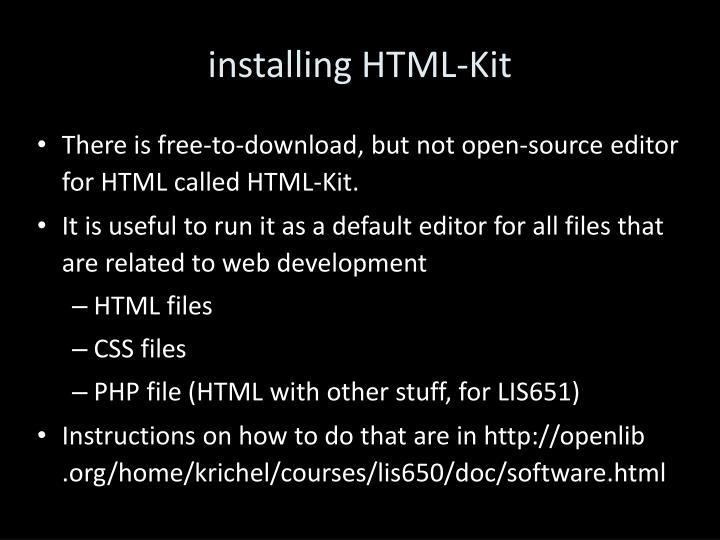 installing HTML-Kit