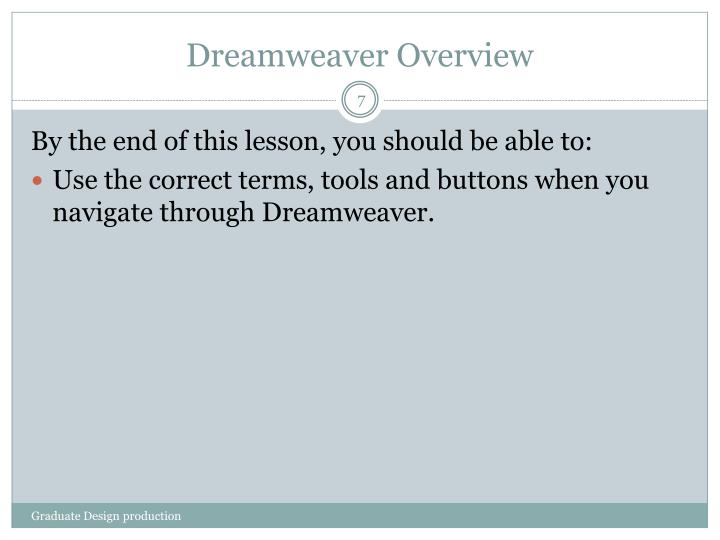 Dreamweaver Overview