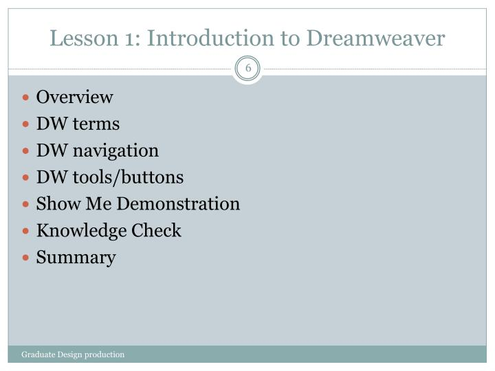 Lesson 1: Introduction to Dreamweaver