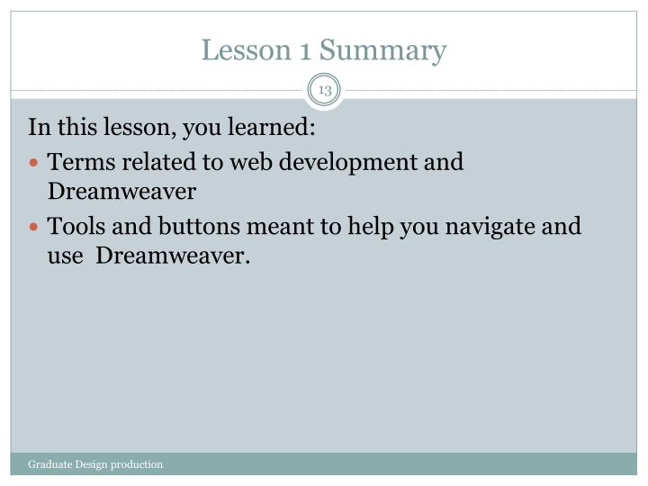 Lesson 1 Summary