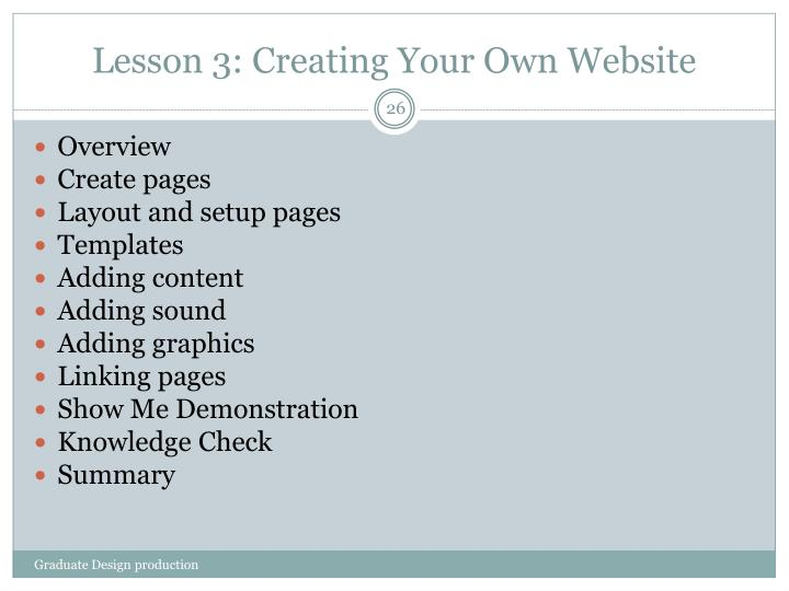 Lesson 3: Creating Your Own Website