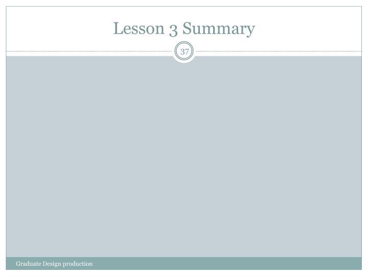 Lesson 3 Summary