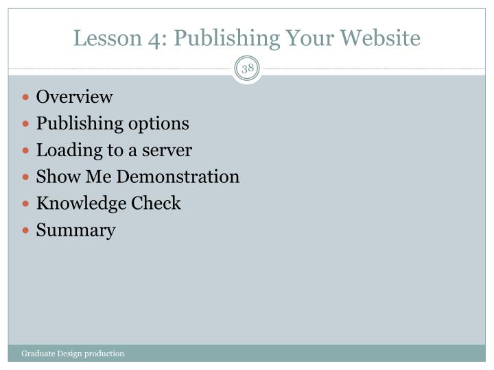 Lesson 4: Publishing Your Website