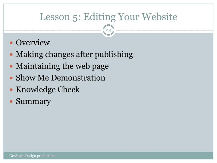 Lesson 5: Editing Your Website