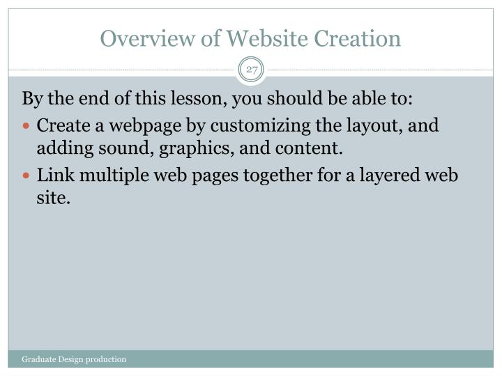 Overview of Website Creation