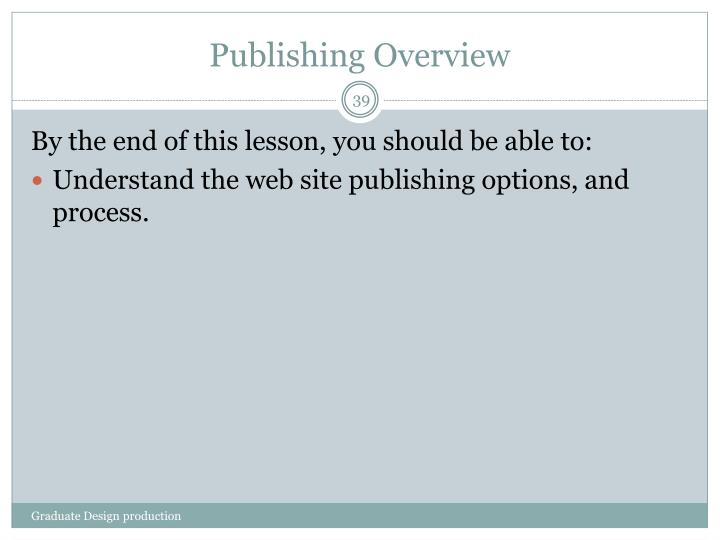 Publishing Overview
