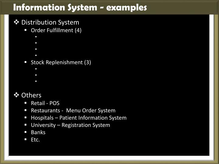 Information System - examples