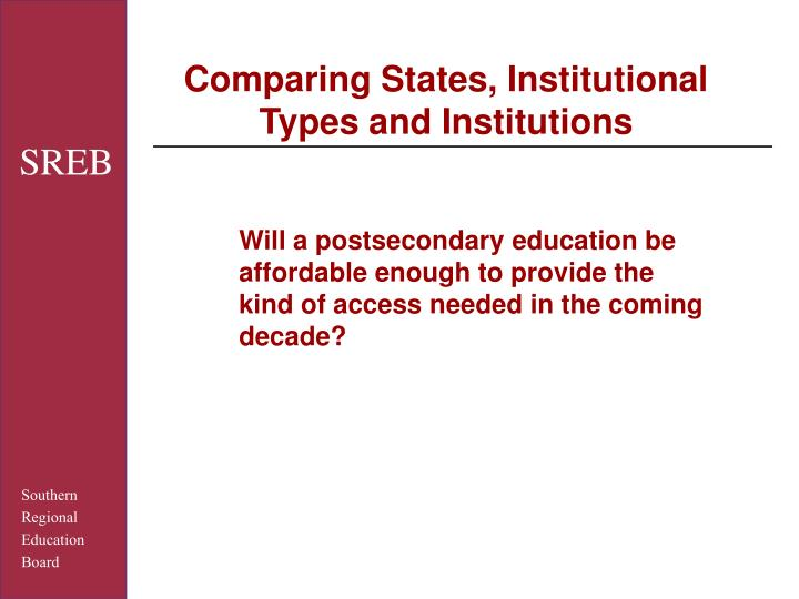 Comparing States, Institutional Types and Institutions
