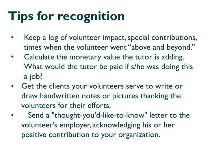 Tips for recognition