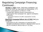 regulating campaign financing continued1