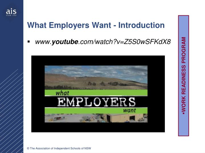 What Employers Want - Introduction